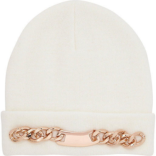 Cream curb chain trim beanie hat