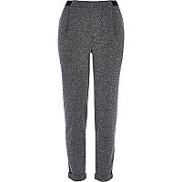 Grey textured smart jogger trousers