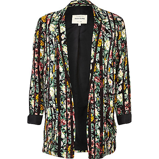 Green striped floral print blazer