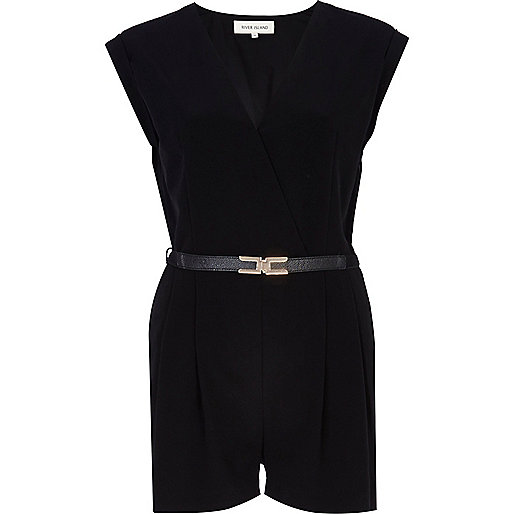 Black V neck wrap front smart playsuit