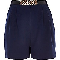 Blue long smart high waisted shorts