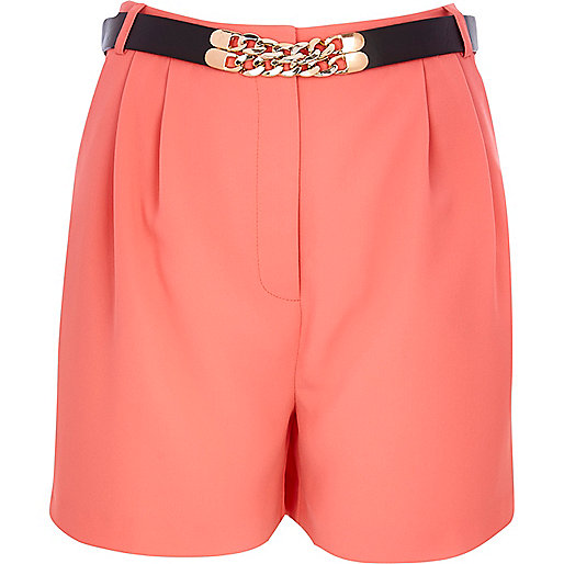Coral long smart high waisted shorts