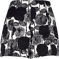 Black floral textured high waisted shorts
