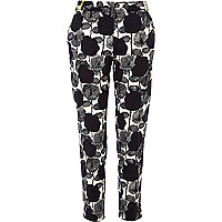 Black and white floral print cigarette pants