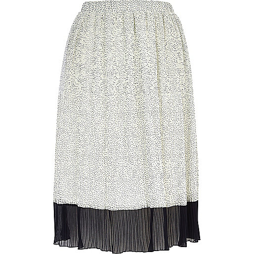 Cream colour block pleated midi skirt