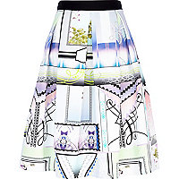 White abstract stamp print full midi skirt