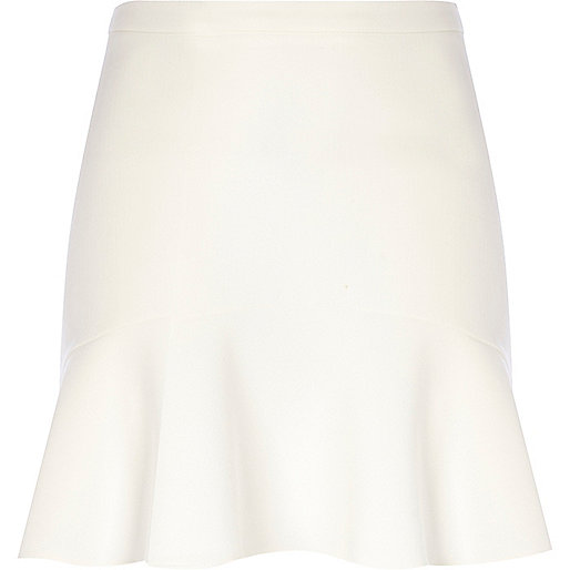 White flute hem mini skirt