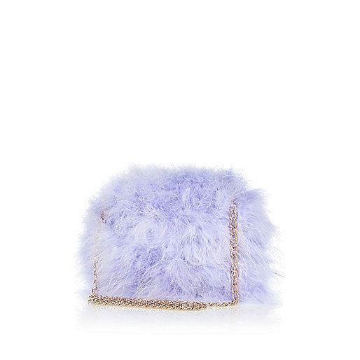 Lilac feather cross body bag