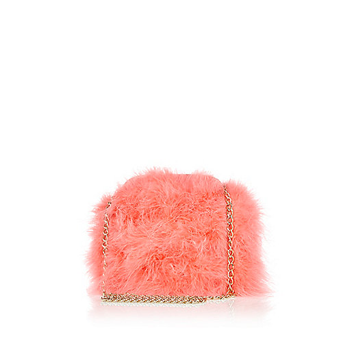 Coral feather cross body bag