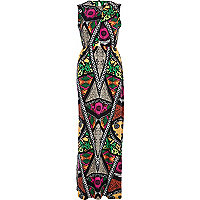 Black mixed print cut out maxi dress