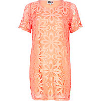 Pink Chelsea Girl daisy lace t-shirt dress