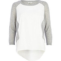 Grey woven front colour block jumper