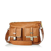 Tan leather double pocket cross body bag