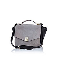 Grey leather and suede winged messenger bag