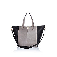 Grey leather and suede two-tone tote bag