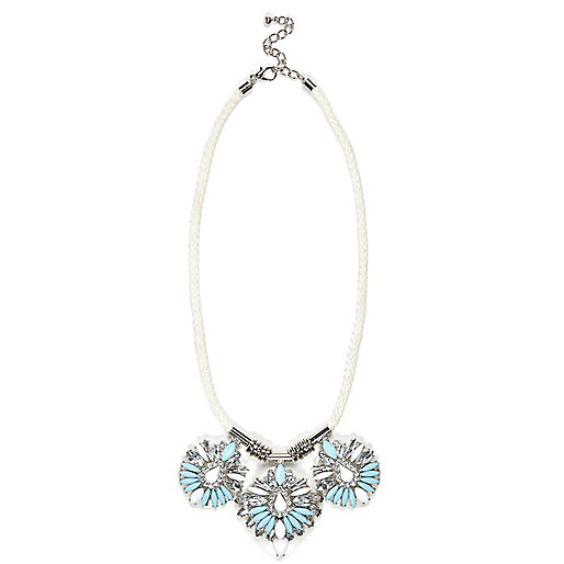 White jewelled statement rope necklace