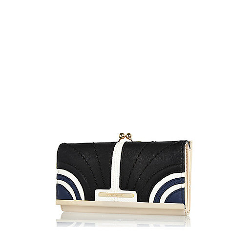 Navy curved panel colour block purse