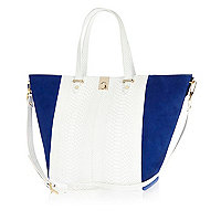 White snake leather winged tote bag