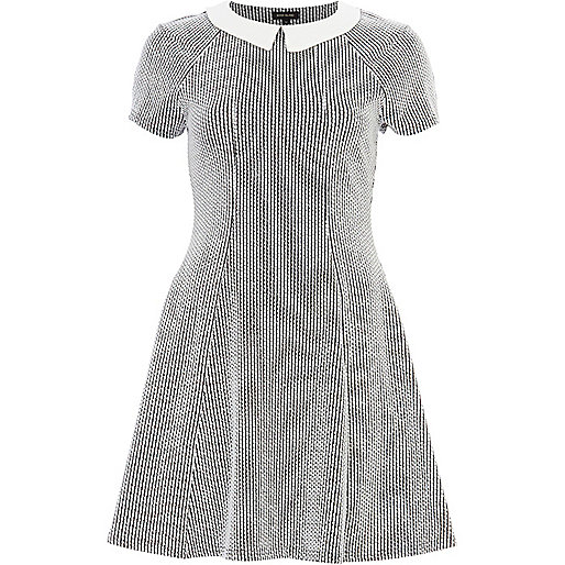White textured contrast collar skater dress