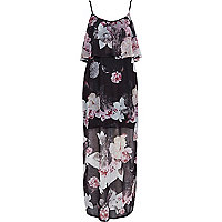 Black floral print layered chiffon maxi dress