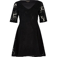 Black brushed lace skater dress