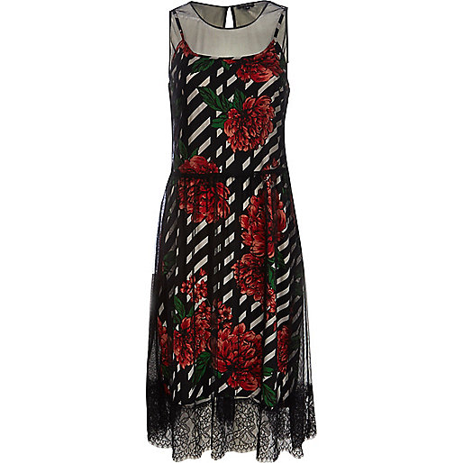 Red rose print mesh overlay dress
