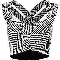 Black and white stripe strappy bralet