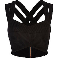 Black textured strappy bralet