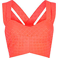 Bright pink quilted strappy bralet
