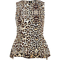 Brown animal print dip hem peplum top