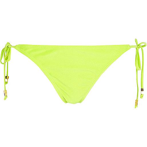 Lime tie side bikini bottoms