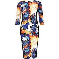 Blue splash print bodycon dress