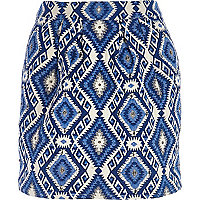 Blue diamond jacquard mini skirt