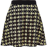 Black 3D flower skater skirt
