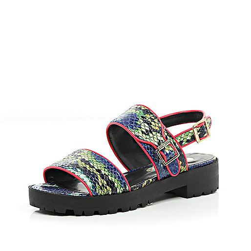 Blue snake print cleated sole sandals