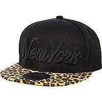 Black leopard print peak NY trucker hat