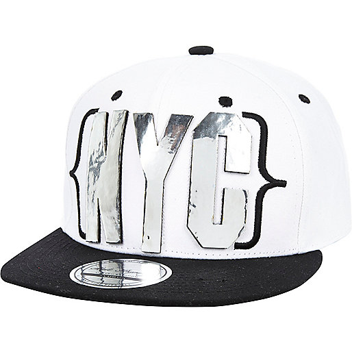 White holographic NYC trucker hat