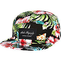 Black tropical print trucker hat