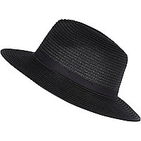 Black paper braid fedora hat