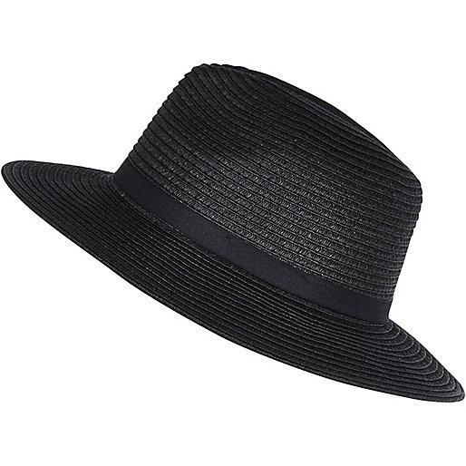 Black paper braid fedora hat