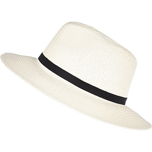 Cream paper braid fedora hat