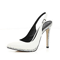 White contrast trim sling back court shoes