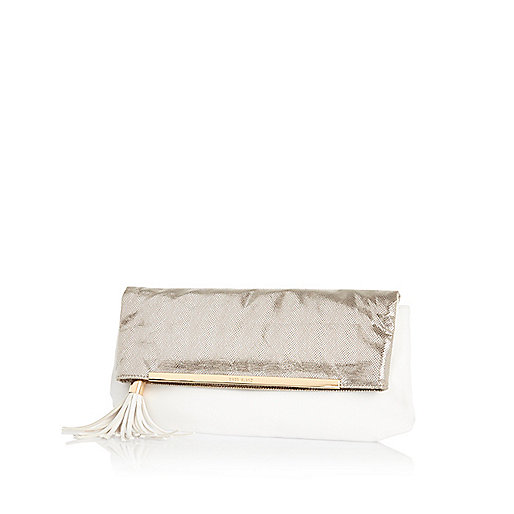 White metallic fold over clutch bag