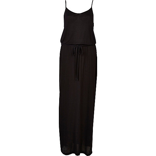 Black V neck cami maxi dress