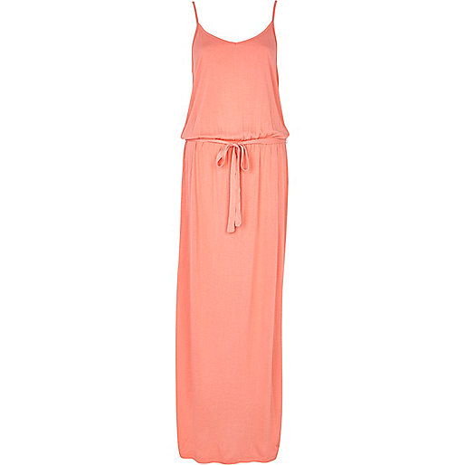 Coral V neck cami maxi dress