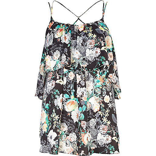 Black floral print double layer cami top