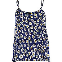 Navy daisy print double strap cami top
