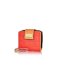 Coral laser cut square purse
