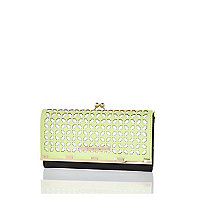 Green geometric laser cut clip top purse