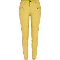 Dark yellow skinny biker trousers